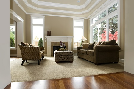 Furnished Living Room with Carpet, Sofa, Chairs, and a Wood Floor Entry